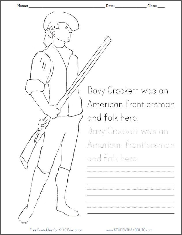 Davy Crockett Coloring Page With Handwriting Practice Free To