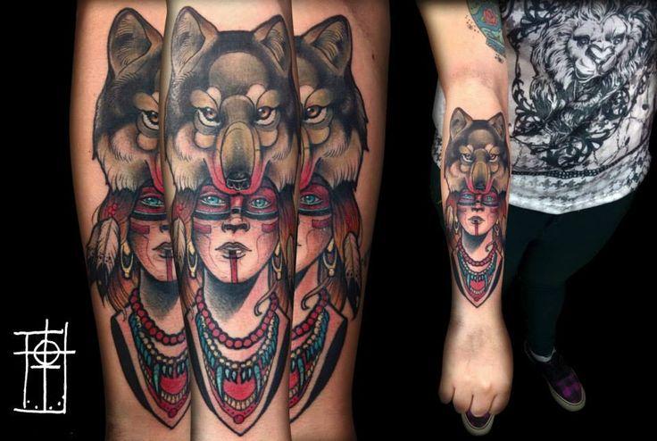 mafia clan tattoo curitiba wolf woman arm tattoo