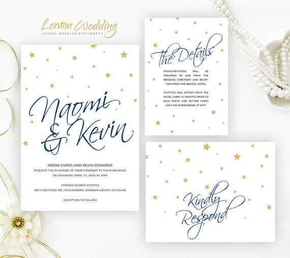 Starry wedding invitation kits printed | Blue navy wedding invitation set cheap | Gold and dark blue signature invite + rsvp + info card