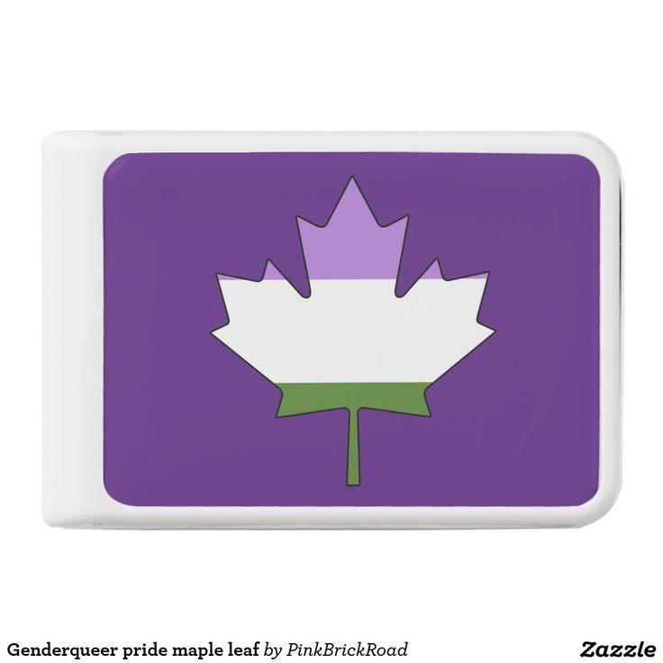 Genderqueer pride maple leaf power bank