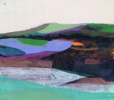 "www.katherinesandoz.com, (the marsh) A, 7"" x 8"", water-based media on panel, 2011"