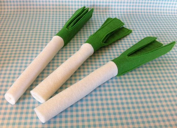 Hey, I found this really awesome Etsy listing at http://www.etsy.com/listing/154786358/felt-pretend-play-food-set-of-3-x-leeks