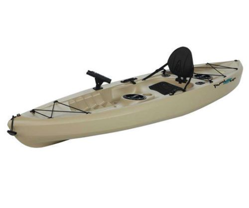 Angler Fishing Kayak 10' Sit On Top  Lifetime Muskie w/ Pole Holders, Tan, New #LifetimeProducts