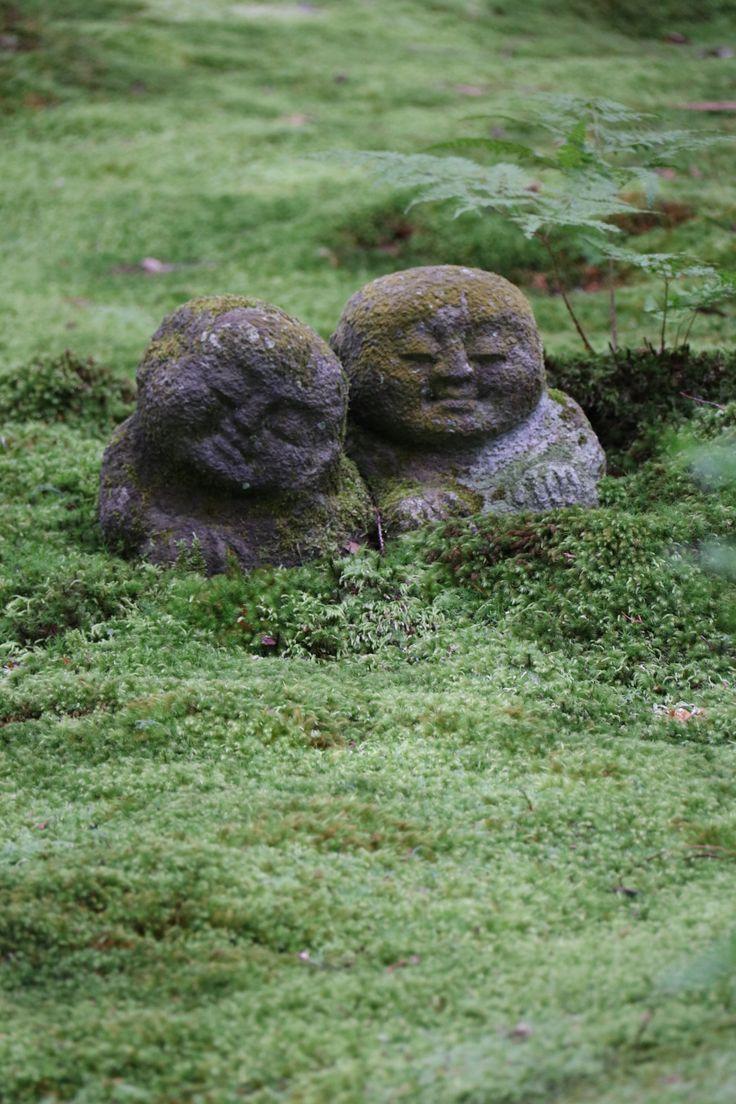Jizo, protector of children and travellers, in the moss garden of Sanzen-in, Ohara, Japan.
