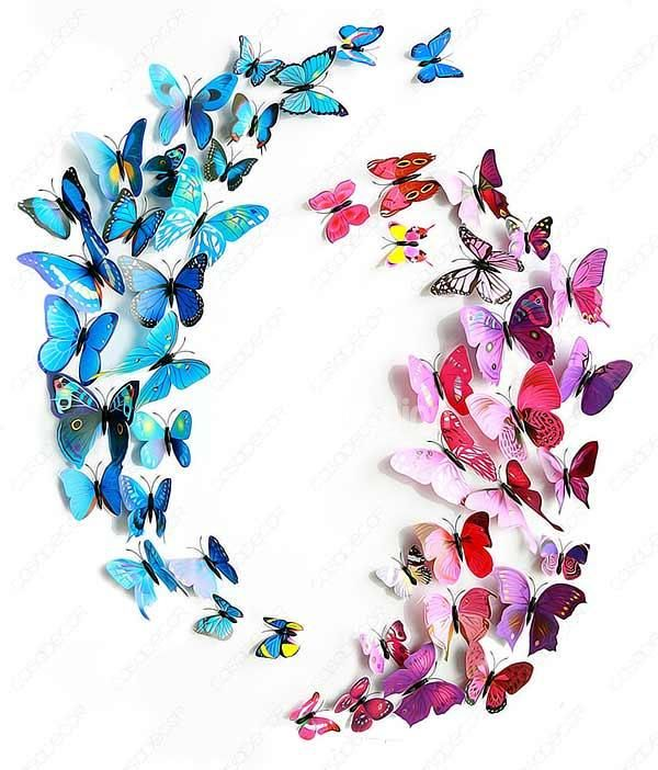 New Arrival Beautiful and Cute Butterfly 12-Piece Wall Stickers on sale, Buy Retail Price 3D Wall Stickers at Beddinginn.com
