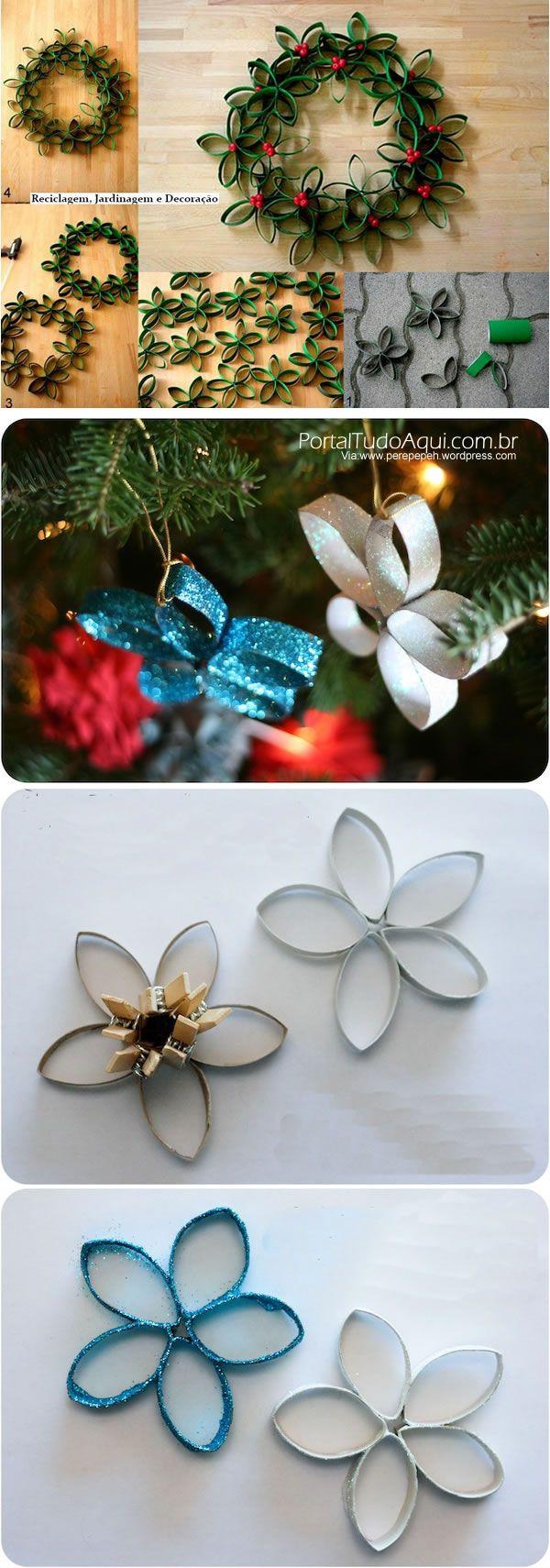 decoração-criativa-baratinha-simples-para-Natal-flor-rolo-papel-higiêncino-reciclado: