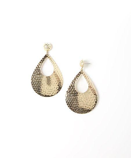 Gold Textured Open Teardrop Earrings