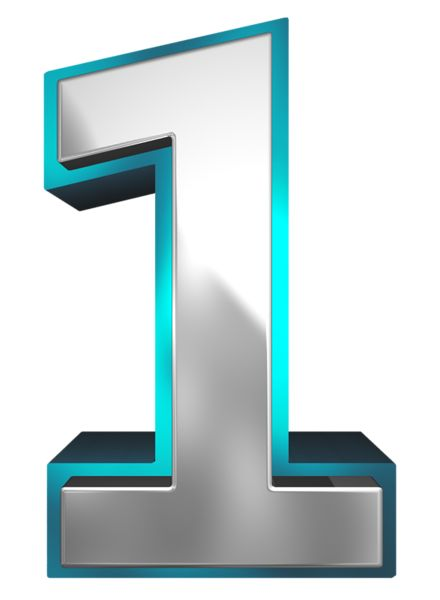 Metallic and Blue Number One PNG Clipart Image