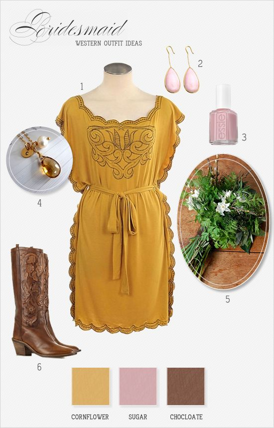 Engagement Outfit Ideas: Fashion, Cowboy Boots, Style, Country Girl, Color, Dresses, Western, Yellow Dress