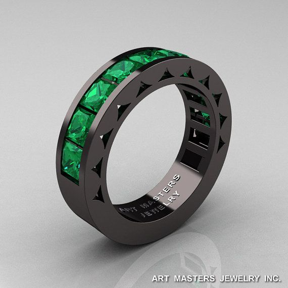 Mens Modern 14K Black Gold Princess Emerald Channel by artmasters, $2499.00