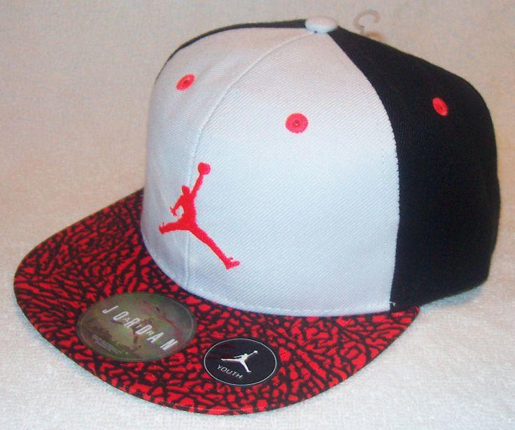 NIKE Air Jordan True Jumpman Youth Black White Red Volt Snapback Hat