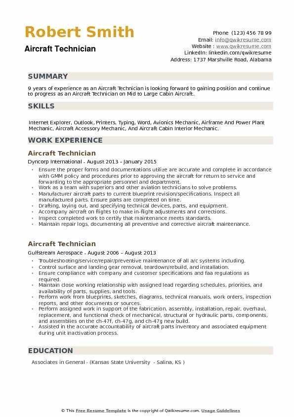 Aircraft Technician Resume Samples Qwikresume Resume Template Job Resume Examples Resume Design Template