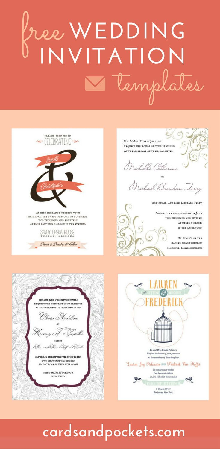 Free wedding invitation templates in a wide variety of designs, from modern to elegant. Choose and customize your design and download printable invitations, making it easy to DIY!    http://www.cardsandpockets.com/freeweddinginvitationtemplates.aspx