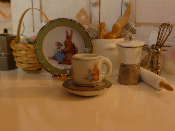 Easter Rabbit  Green Coffee Mug and Plate by Twelvetimesmoreteeny, €2.80