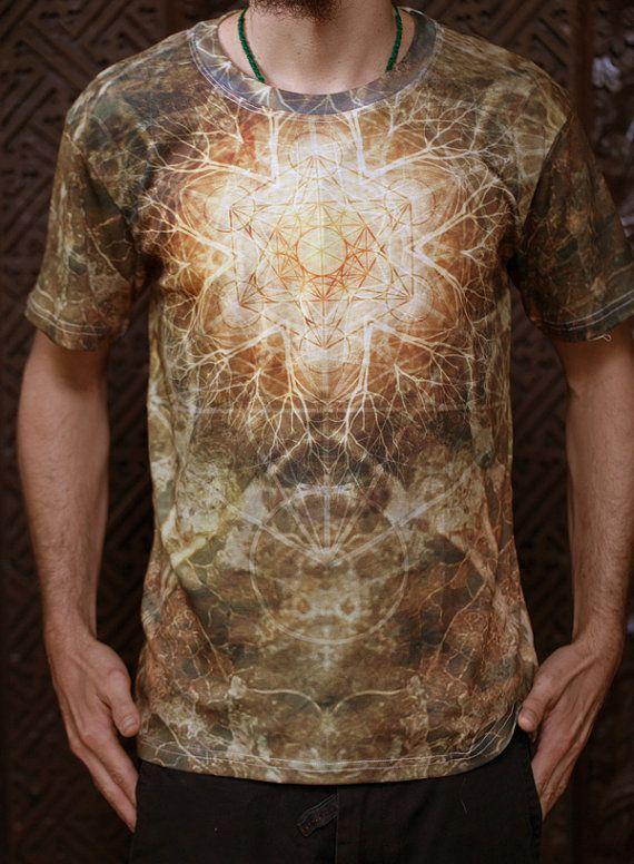 EARTHEART  Men's cotton T-shirt // Mandala by CrystalotusCreations
