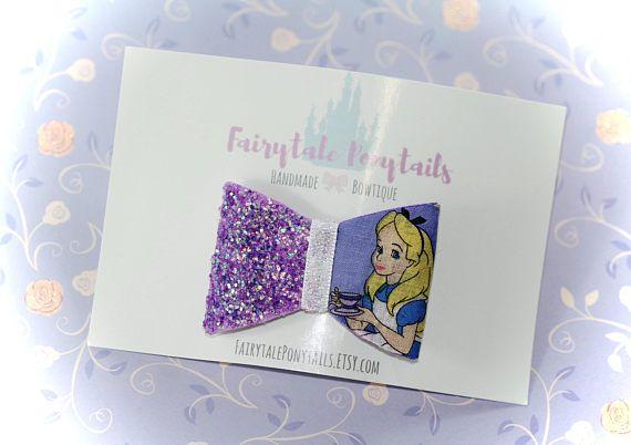 Alice in Wonderland Glitter Bow Clip or Headband  Fairytale
