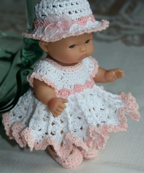 Crochet Pattern Baby Doll : PDF PATTERN Crochet 5 inch Berenguer Baby Doll Peach Rose ...