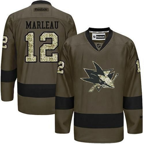 Men's San Jose Sharks #12 Patrick Marleau Reebok Green Camo Player Jersey