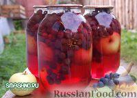 Фото к рецепту: Компот из яблок с виноградом на зиму