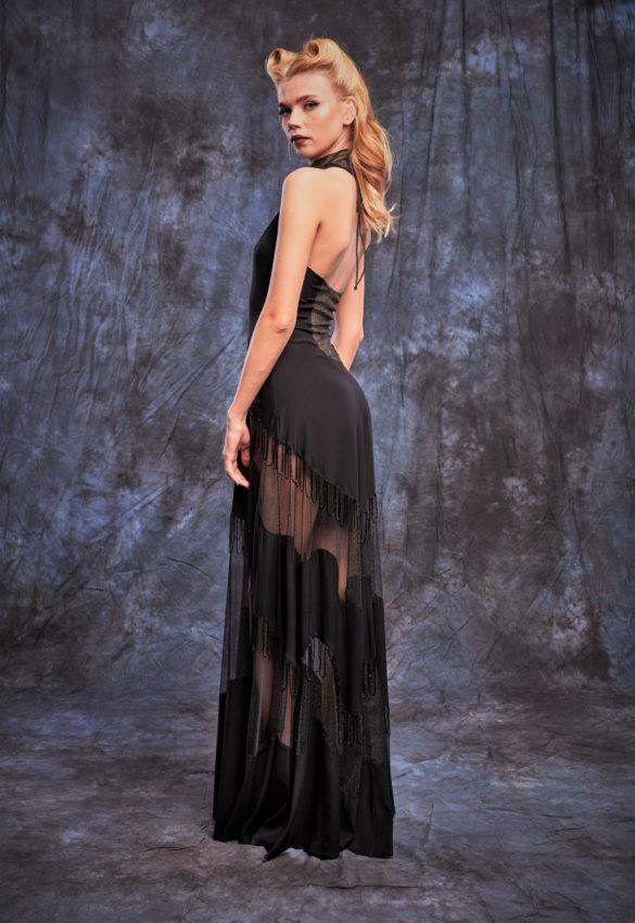 Rochie de seara neagra lunga cu inertii transparente _31R_lateral
