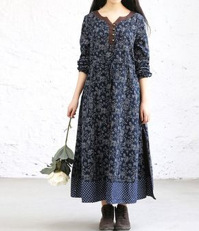 Loose Fitting womens Floral Long dress by MaLieb on Etsy