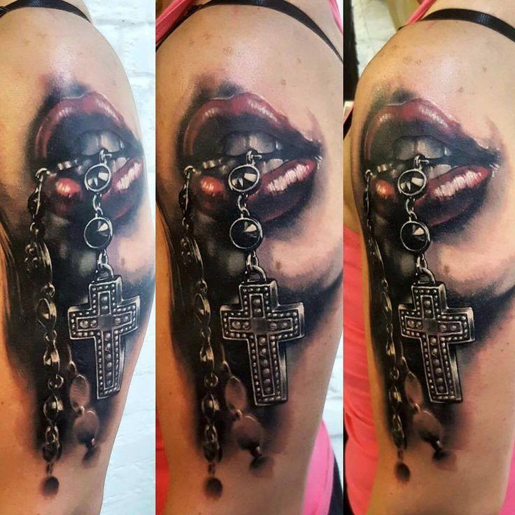 mouth tattoo, cross tattoo, 77ink