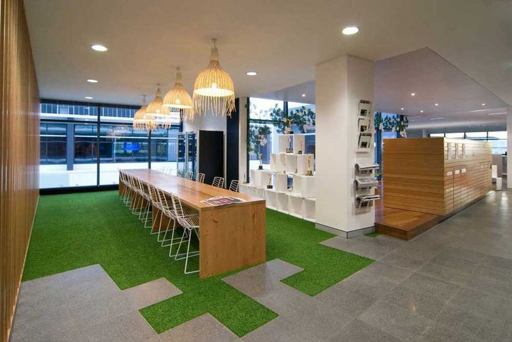 Interior Design Office with wooden furniture and green carpet