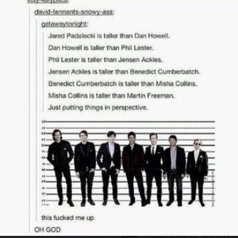 Jensen is actually taller than Benedict?! Damn, he's taller than I thought.<< Phil is taller than Jensen???<< WHAT