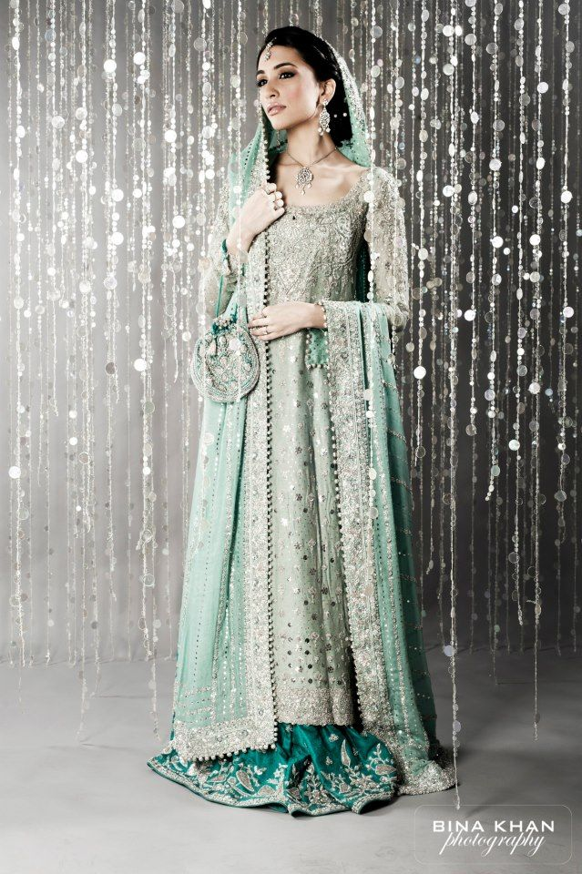 Bunto Kazmi Pakistani Bridal - Mint Green - So elegant!