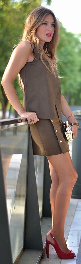 Zara Chocolate Sleeveless Wrap Top Side Button Up Skirt Summer Suit by Mi Aventura Con La Moda
