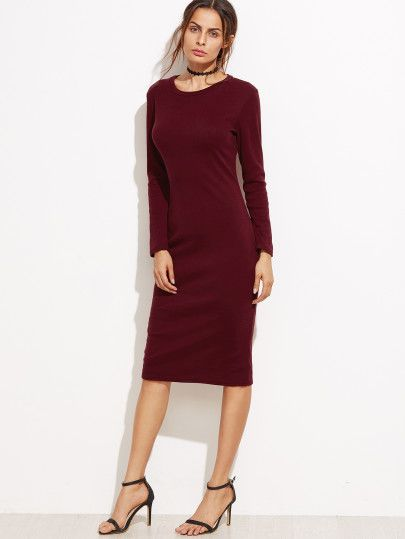 Burgundy Split Back Sheath Dress