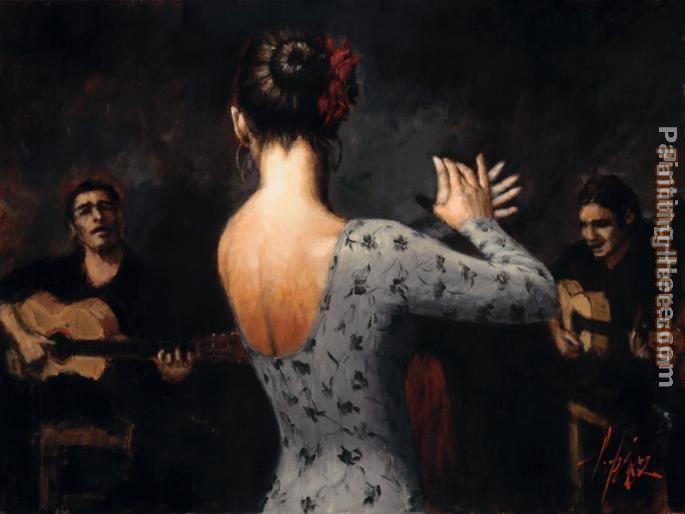 flaminco+dancer.+art | Fabian Perez - Fabian Perez Tablao Flamenco Dancer Painting