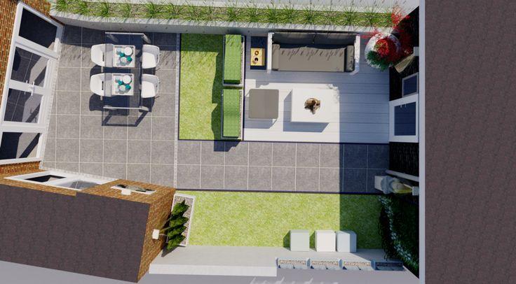 Tuinontwerp voorbeeld kleine moderne lounge tuin. De buitenruimte is een verlengde van de huiskamer en kan op meerdere manieren benut worden.