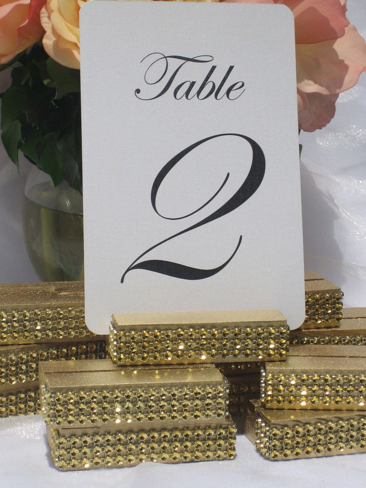 Gold Wedding Table Number Holder Trimmed with a Gold Crystal Wrap , Table Number Holders - Gallery360 Designs, Gallery360 Designs  - 2