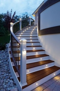 Outdoor lighting on stairs adds both safety and style. Trex Company http://www.poolspaoutdoor.com/blog/entryid/55/5-areas-to-improve-with-outdoor-lighting.aspx