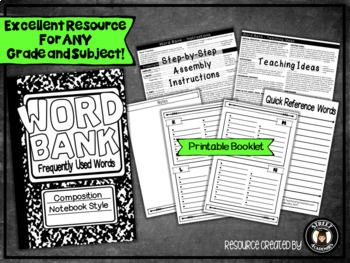 $2.50 - This printable booklet can be used to support the development of basic or advanced vocabulary in any subject area! It is also a valuable reference tool for English Language Learners and students with special education needs.  The Word Bank was designed to be visually appealing to middle- and high-school students, but can be used for any grade level. The simple layout can be customized by students easily using pencil crayons, highlighters, or