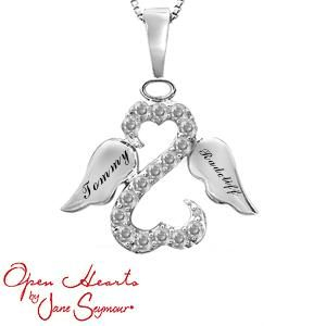 Personalize Your Open Hearts by Jane Seymour® Engravable Angel Necklace