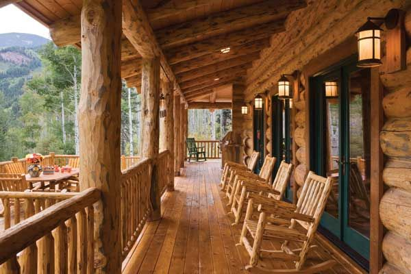 Large Diameter Logs Support The Front Porch Lantern Style