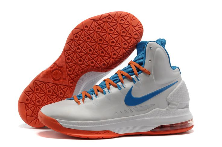 Home White Blue Orange Nike Zoom KD V 554988 100 Kevin Durant Shoes 2013