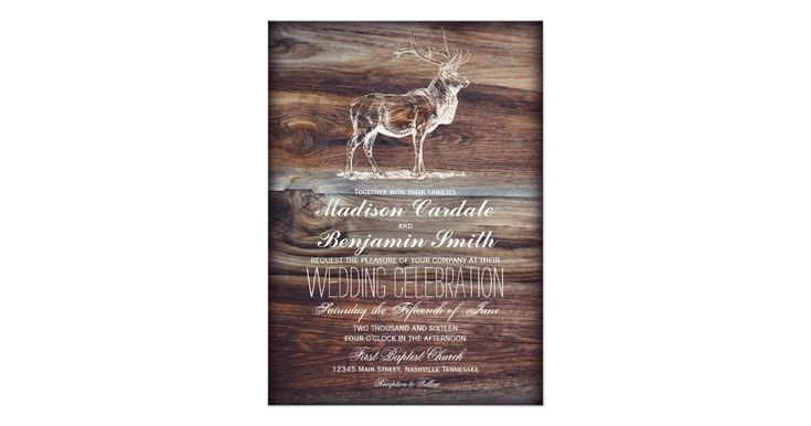 Rustic Country Wood Design Elk Wildlife Hunting Theme Wedding Invitations. The background is a printed wood design with a white silhouette of an elk at the top. The same design is on the back of the announcement. These are great for hunting themed weddings, nature themed weddings, antler themed weddings, and for anyone who love wildlife. Matching Wedding Set Items: elk, hunting, hunter, wildlife, antler, antlers