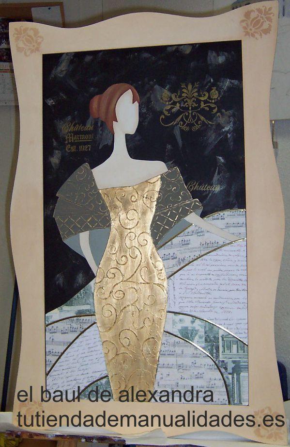 Cuadro de la firma Dayka trade realizado con pintura decorativa artis, modeling paste, papeles de decoupage, plantillas.