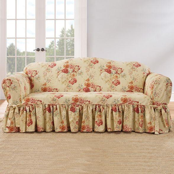 Ballad Bouquet Sofa Slipcover Blush Waverly Target In 2020 Slipcovered Sofa Slipcovers Cushions On Sofa
