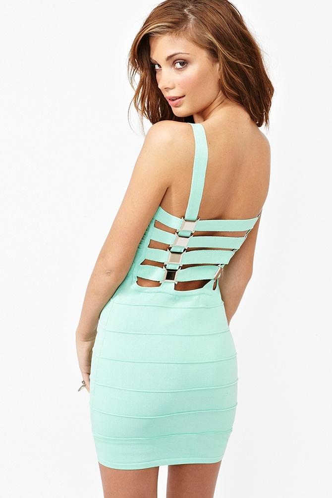 mint strappy back dress
