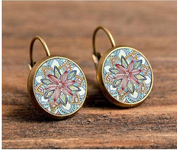 New 2016 women jewelry rhinestone mandala earrings henna earring for women om symbol buddhism zen retro jewelry c-e224 *** Vy mozhete poluchit' dopolnitel'nuyu informatsiyu po ssylke izobrazheniya.