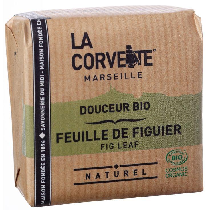 Savon de Provence BIO à la feuille de figuier 100% naturel, artisanal et végétal made in Marseille par La Savonnerie du Midi pour sa marque La Corvette. En savonnette de 100G.