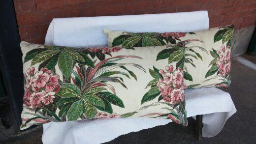 By the Sea Home. ONE mid century bark cloth pillow measuring 34 x 17. The fabric is vintage, has been cleaned and has zipper for easy cleaning. The back side is a neutral creamy nubby canvas. There is NO PILLOW INSERT, A KING SIZE PILLOW WILL FIT PERFECTLY. (a Wal-Mart KING size firm allergy relief is perfect and is what is pictured here) It will look wonderful in your space with a real vintage look. It does not look like a reproduction from the mall...  #midcentury