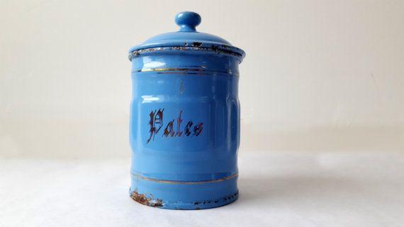 1930 der französischen Küche blau KANISTER von PetitesChosesDeLaVie