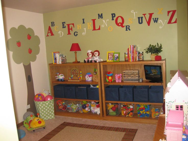 Funny Design, Exciting Tree As Wallpaper Playroom With Funny Wooden Toys  Rack And Charming Playhouse: 17 Wonderful Fun Playroom Ideas For Ki.