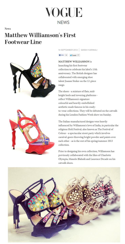 Joanne Stoker for Matthew Williamson in Vogue News