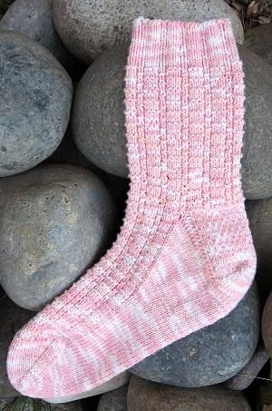 free knit sock pattern - Menehune Cobblestones Panda Cotton or Panda Wool sock pattern - Crystal Palace Yarns